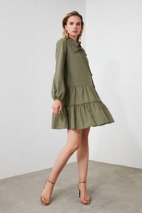 TRENDYOLMİLLA Haki Geniş Kesim Fırfırlı Elbise TWOAW20EL1506 0