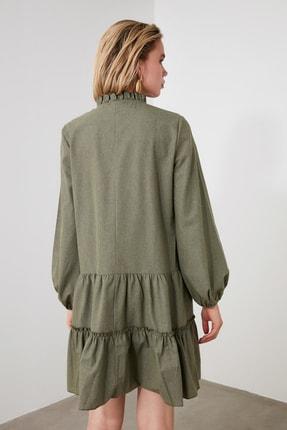 TRENDYOLMİLLA Haki Geniş Kesim Fırfırlı Elbise TWOAW20EL1506 3