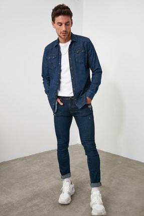 TRENDYOL MAN Lacivert Erkek Tırmık Destroylu Skinny Jeans TMNAW20JE0437 2