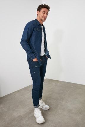 TRENDYOL MAN Lacivert Erkek Tırmık Destroylu Skinny Jeans TMNAW20JE0437 3