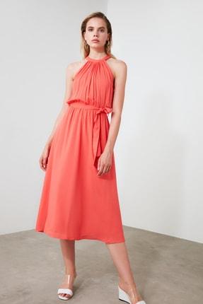 TRENDYOLMİLLA Kırmızı Kuşaklı Elbise TWOSS19EL0155 3