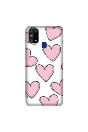 cupcase Samsung Galaxy M31 Kılıf Silikon Kapak Pembe Çizgili Kalpler Desenli + Temperli Cam 0