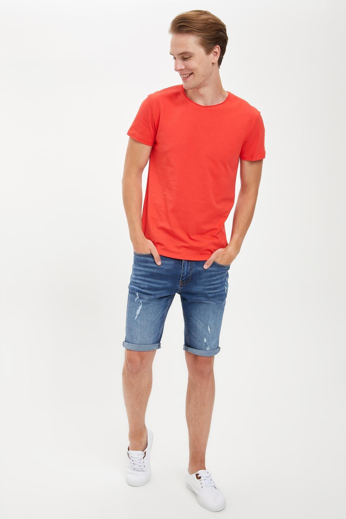Defacto Erkek Kırmızı Slim Fit Bisiklet Yaka Basic Pamuklu Tişört S4972AZ20HS 1