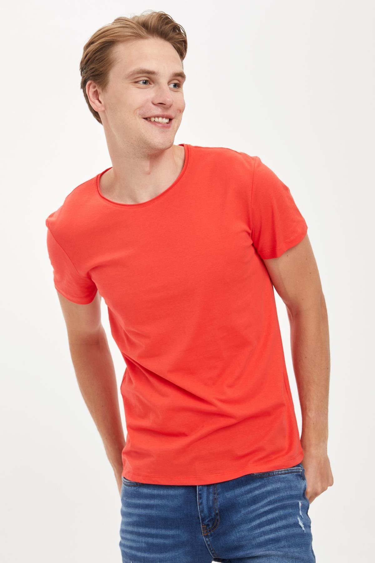 Defacto Erkek Kırmızı Slim Fit Bisiklet Yaka Basic Pamuklu Tişört S4972AZ20HS 2