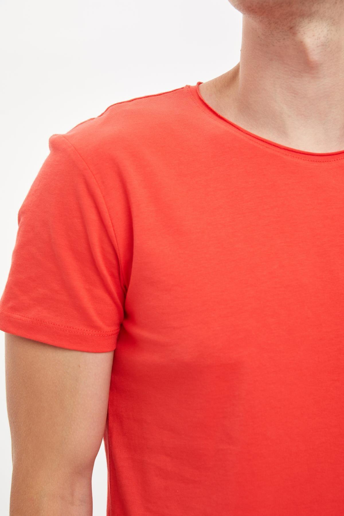 Defacto Erkek Kırmızı Slim Fit Bisiklet Yaka Basic Pamuklu Tişört S4972AZ20HS 3