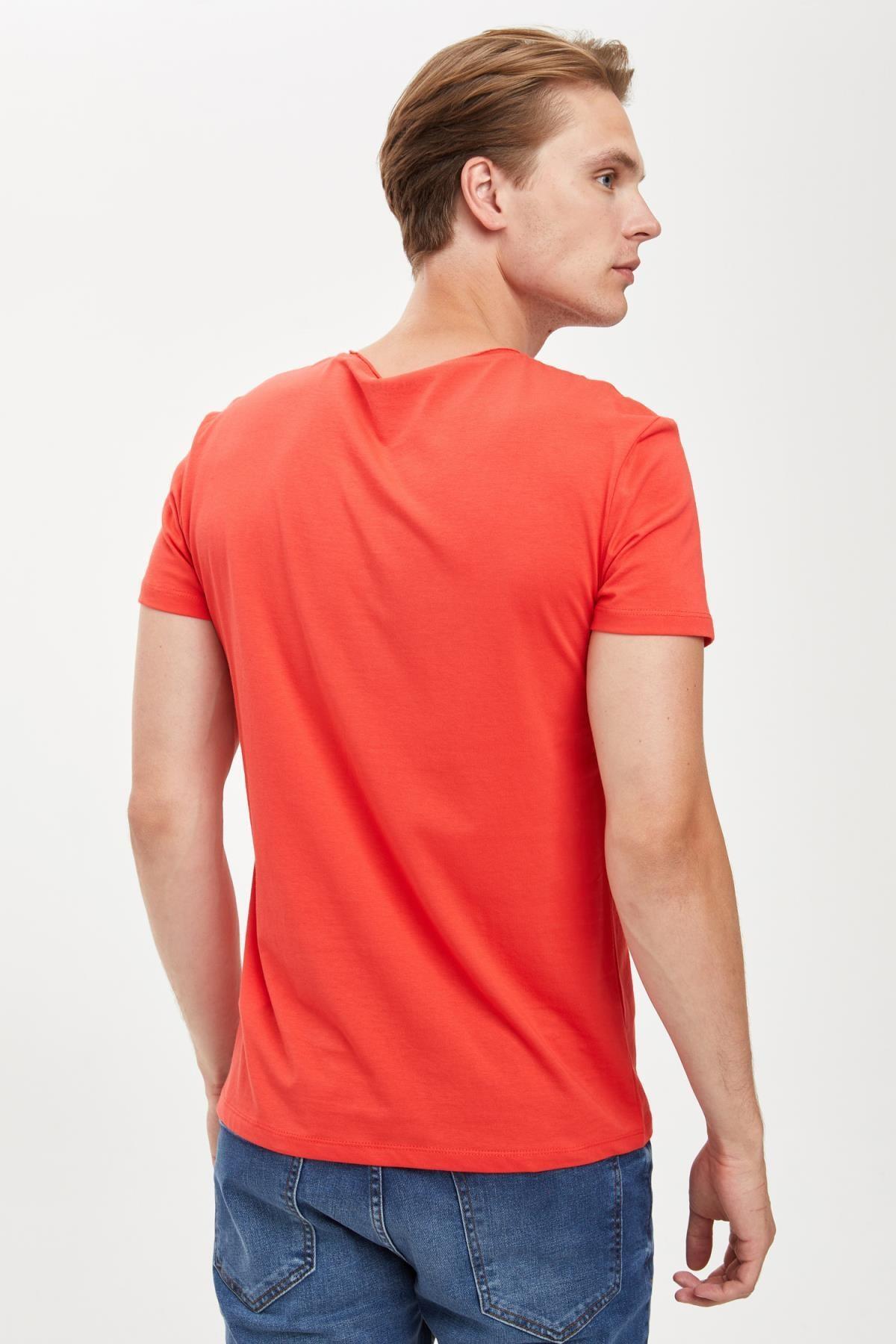 Defacto Erkek Kırmızı Slim Fit Bisiklet Yaka Basic Pamuklu Tişört S4972AZ20HS 4