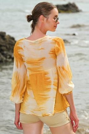 Trend Alaçatı Stili Kadın Hardal V Yaka Batik Desenli Bluz ALC-020-039-PW-RW1 2