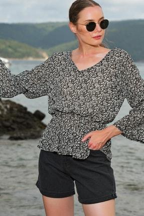 Trend Alaçatı Stili Kadın Siyah V Yaka Desenli Şifon Bluz ALC-020-029-VK-RW1 0
