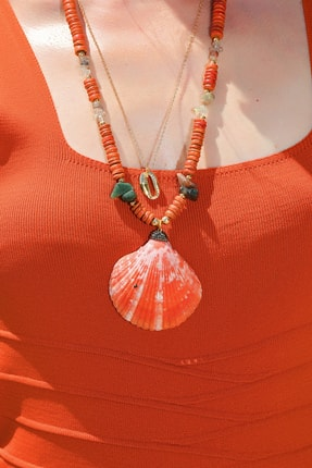 Trend Alaçatı Stili Kadın Mercan Doğal Taş İstiridye Kolye ALC-A1944 1