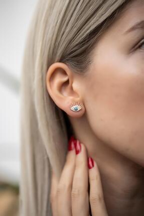 İzla Design Kadın Göz Model Siyah Zirkon Taşlı Rose Gümüş Küpe İZLASLVR00439 0