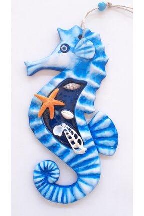 Akın Aksesuar Deniz Atı Figürlü Büyük Boy Mavi Renk Duvar Teras Balkon Kapı Süsü 0