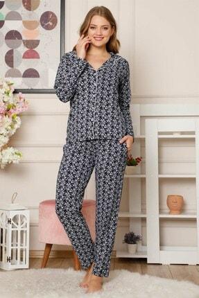 Akbeniz Kadın Pamuklu Düğmeli Cepli Uzun Kol Pijama Takım 2485 1