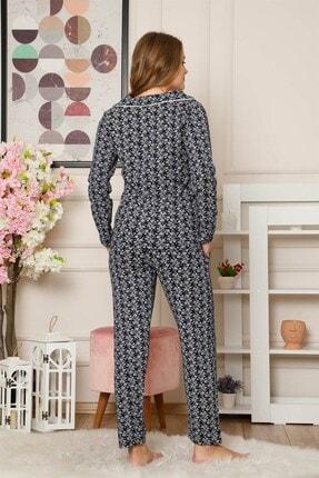 Akbeniz Kadın Pamuklu Düğmeli Cepli Uzun Kol Pijama Takım 2485 3