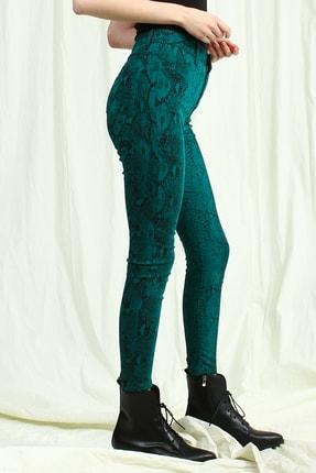 Collezione Kadın Zümrüt Yeşil Yüksek Bel Desenli Skinny Pantolon 1