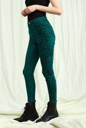 Collezione Kadın Zümrüt Yeşil Yüksek Bel Desenli Skinny Pantolon 2