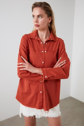 TRENDYOLMİLLA Kiremit Basic Gömlek TWOSS20GO0422 0