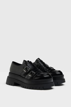 Bershka Kadın Siyah Tokalı Düz Maksi Platform Ayakkabı 0
