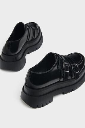 Bershka Kadın Siyah Tokalı Düz Maksi Platform Ayakkabı 3