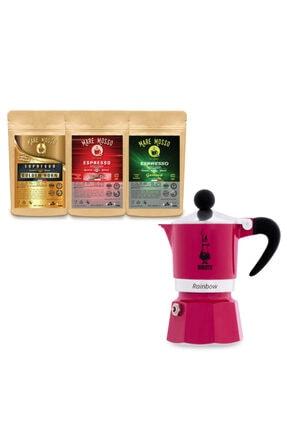 Mare Mosso Caffe ê Vendite Bıalettı Moka Pot Raınbow Fucshıa - Fuşya 6 Cup + 3 X 100 Gr Espresso Hediye 0