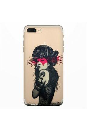 cupcase Iphone Se 2020 Kılıf Resim Esnek Silikon Kapak Tattoo Woman Desen+ Temperli Cam 0