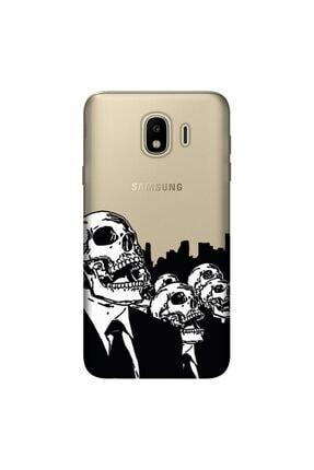cupcase Samsung Galaxy J4 Kılıf Hd Silikon Koruma Skull Red Kapak + Nano Cam 0