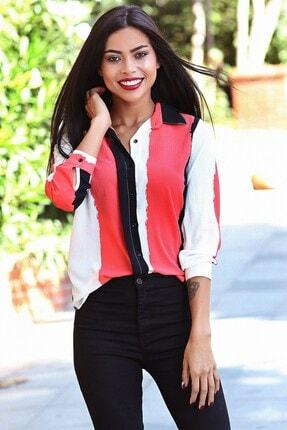Womenice Kadın Kırmızı Siyah Baskılı Krep Gömlek 0