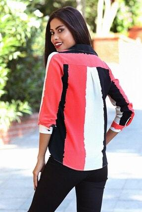 Womenice Kadın Kırmızı Siyah Baskılı Krep Gömlek 1