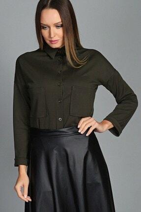 Womenice Kadın Haki Çift Cep Gömlek 1