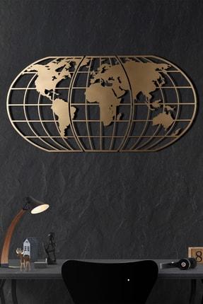 Bystag Dekoratif Metal Duvar Aksesuarı Dünya Haritası Globe Gold 0