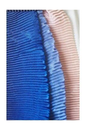Cachmira Kadın Mavi Pudra Pliseli Şal 07 1