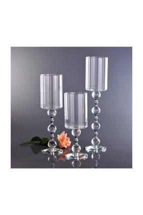 KristalGalerisi Şamdan Kristal Ayaklı Silindir Gümüş - 3'lü Set 0