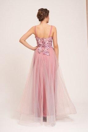 La Vita e Bella Pudra Tül Etek Çiçek Motifli Uzun Abiye Elbise 1