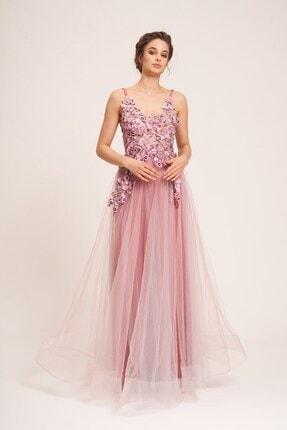 La Vita e Bella Pudra Tül Etek Çiçek Motifli Uzun Abiye Elbise 3