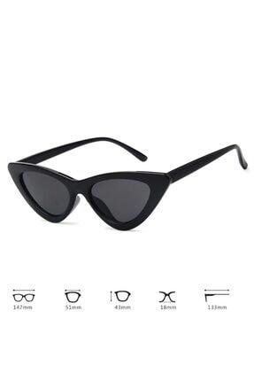 Hane14 Retro Üçgen Cat Eye Siyah Güneş Gözlüğü 4