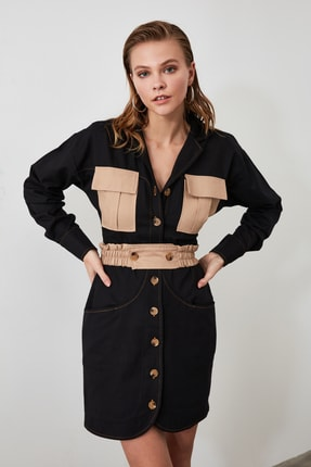 TRENDYOLMİLLA Siyah Cep Detaylı Gömlek Elbise TWOAW21EL0325 1