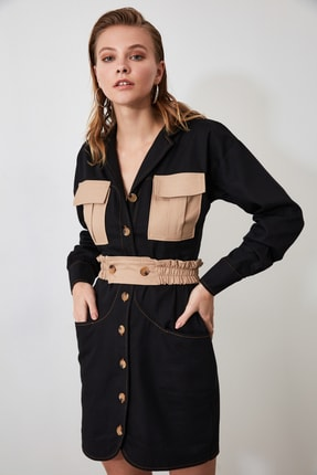 TRENDYOLMİLLA Siyah Cep Detaylı Gömlek Elbise TWOAW21EL0325 2