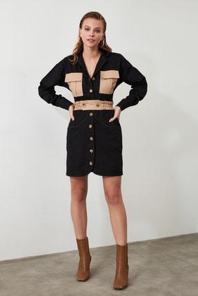 TRENDYOLMİLLA Siyah Cep Detaylı Gömlek Elbise TWOAW21EL0325 3