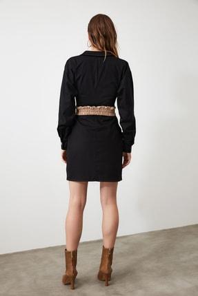 TRENDYOLMİLLA Siyah Cep Detaylı Gömlek Elbise TWOAW21EL0325 4