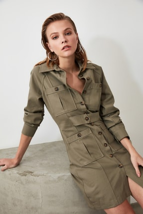 TRENDYOLMİLLA Haki Cep Detaylı Gömlek Elbise TWOAW21EL0323 0