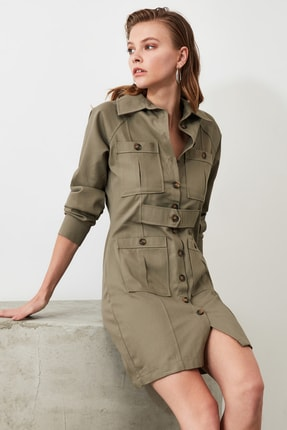 TRENDYOLMİLLA Haki Cep Detaylı Gömlek Elbise TWOAW21EL0323 2