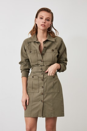 TRENDYOLMİLLA Haki Cep Detaylı Gömlek Elbise TWOAW21EL0323 3