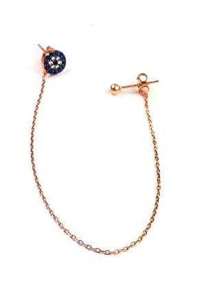 OSESHOP Nazar Boncuğu Detaylı Gümüş Üzerine Rose Altın Kaplamalı Zincir Küpe 0