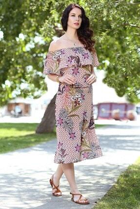 Womenice Kadın Somon Çiçek Desen Yaka Fırfır Elbise 0