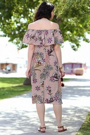 Womenice Kadın Somon Çiçek Desen Yaka Fırfır Elbise 1
