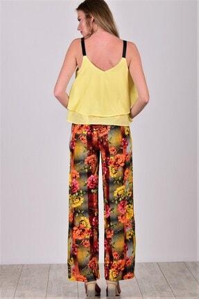 Womenice Kadın Sarı Desenli Beli Lastikli Bol Paça Viskon Pantolon 1