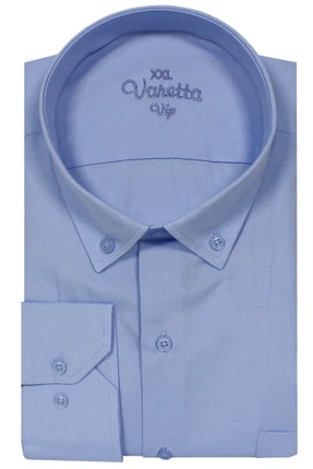 Picture of Büyük Beden Yaka Dügmeli Gömlek Açık Mavi