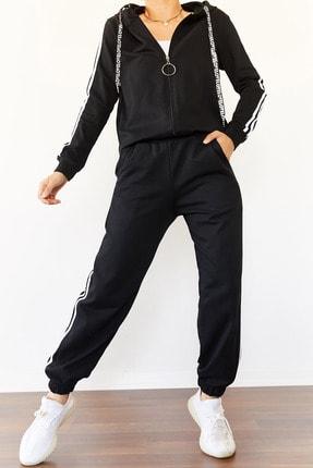 Xena Kadın Siyah Üç Şeritli Eşofman Takımı 0YZK8-10501-02 1