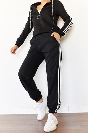 Xena Kadın Siyah Üç Şeritli Eşofman Takımı 0YZK8-10501-02 3