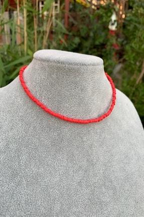 İsabella Accessories Kadın Renkli Fimo Boncuk Kolye Kırmızı Yeni Trend Kolye 1