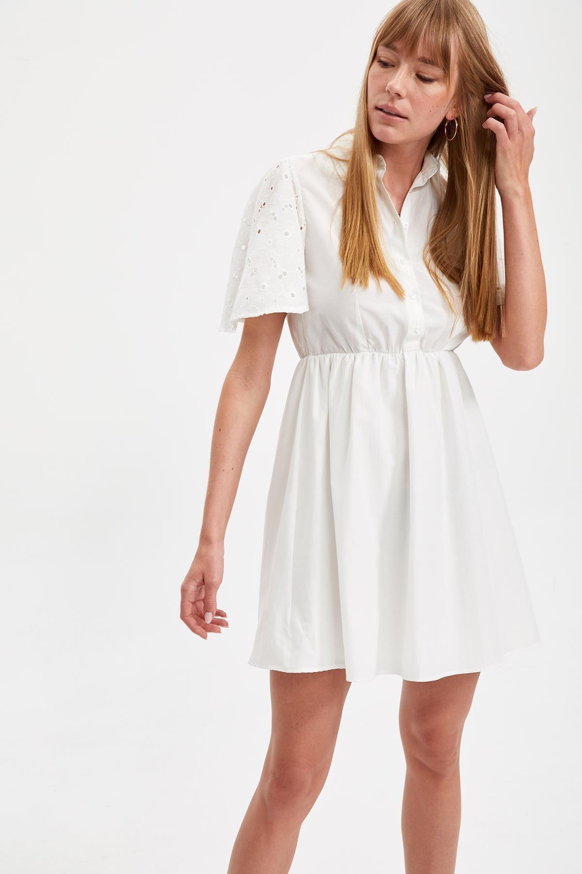 Defacto Kadın Beyaz Mini Boy Güpür Detaylı Gömlek Elbise S4879AZ20HS 4